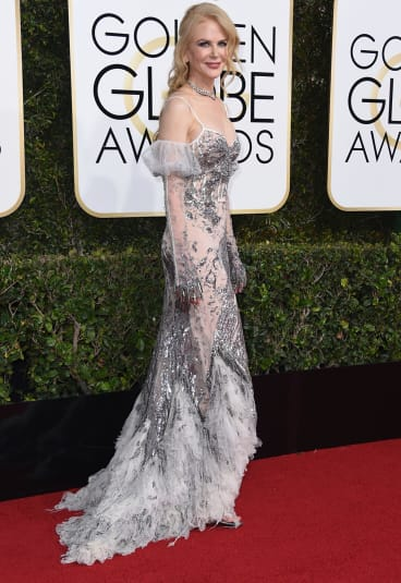 Nicole Kidman, at the Golden Globes, is also nominated for an Oscar for best supporting actress for her role in <i>Lion</i>.