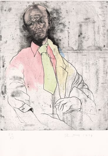 Jim Dine, Self-portrait as a Die-maker, 1979 from the Eight sheets from an undefined novel, state II set soft-ground etching, etching and aquatint hand-coloured with oil paint (image and plate), National Gallery of Victoria, Melbourne, gift of the artist.
