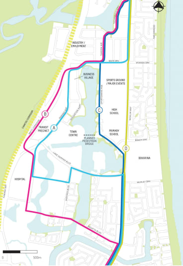 Suggested route options through Kawana.