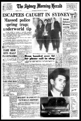<i>The Sydney Morning Herald</i> front page: 'Escapees caught in Sydney', January 6, 1966, on escaped killer Ronald Ryan.