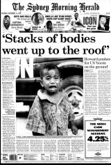 Lindsay Murdoch's Walkley Award-winning coverage from Dili on the front page of <i>The Sydney Morning Herald</i> on September 11, 1999.