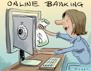 Kids get less exposure to seeing their parents do the mechanics of banking now that it's moved online.
