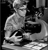 In this image taken in the 1970s and provided by the Carnegie Institution of Washington, Vera Rubin uses a measuring engine.