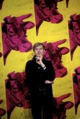 Andy Warhol with Cow Wallpaper, Los Angeles, 1966, by Steve Schapiro. The wallpaper has been recreated at the National Gallery of Victoria for the Andy Warhol | Ai Weiwei exhibition.