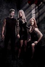 Vamping it up: Ryan Kwanten, Kristin Bauer van Straten and Deborah Ann Woll in True Blood.
