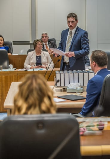 Opposition Leader Alistair Coe delivers his statement during the first sitting of the ninth ACT Legislative Assembly on Monday.