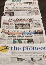 Newspapers in India's capital New Delhi.