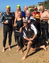 Ocean swimming team Eugene's Rippers, who crossed Melbourne's The Rip in February (far left: Clive Williams).