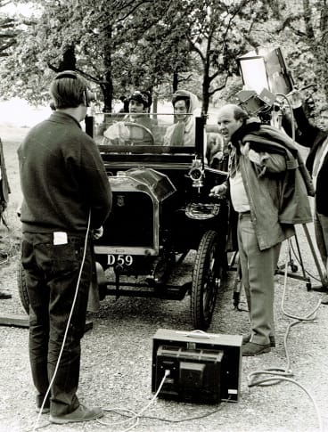Ray Menmuir on the set of Upstairs Downstairs with John Alderton and Nicola Pagett. He directed the first episode to air.