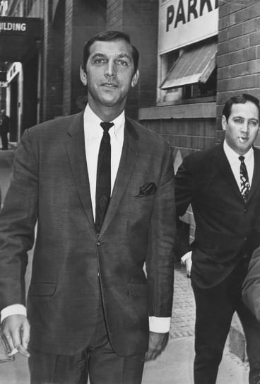 Don Lane, leaves the court in Phillip Street, Sydney, after a court hearing into his alleged possession of illegal drugs, 29 March 1968.