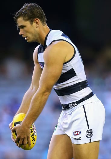 Tom Hawkins' power and experience will be crucial at Simonds Stadium.
