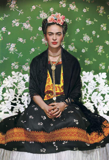 Frida Kahlo on white bench 1938 carbon print, 45.5 x 36 cm. The Jacques and Natasha Gelman Collection of Mexican Art, Nickolas Muray Photo Archives.