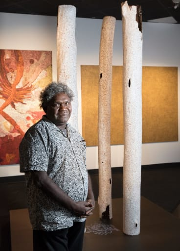 Wukun Wanambi of Yirrkala, NT, with his work Destiny which won the 3D award.