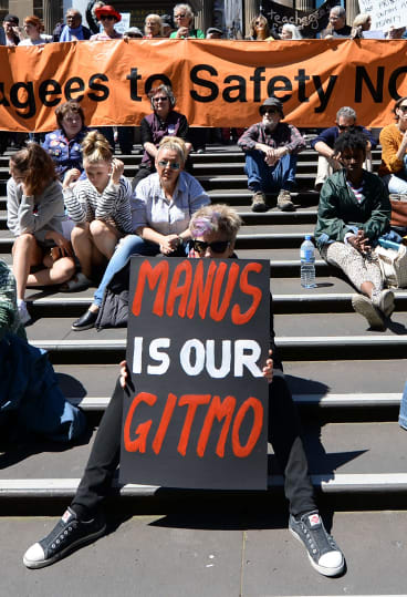 Protesters rally in Melbourne in support of refugees and asylum seekers on Manus Island