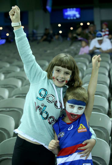 Two enthusiastic Western Bulldogs supporters.