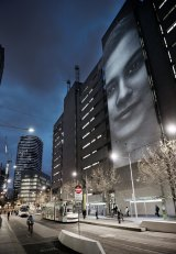 RMIT Urban Animators: Living Laboratory, Swanston Street, with a projection of Allyn Laing's ''Fabric''.