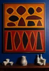 In the bedroom: John Coburn, <i>Yellow Summer</i>, ceramics by Gwyn Hanssen Pigott and Stephen Benwell.