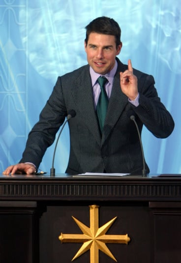 Leading man: Tom Cruise speaks at a Church of Scientology event in Madrid last year.