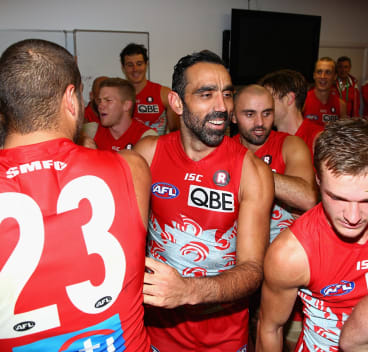 Celebration: Adam Goodes.