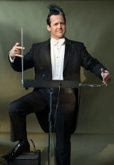 Geoff Lierse, french horn player with the MSO and a metal head, with his theremin.