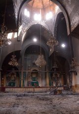 The Armenian St Kevork church in Aleppo after it was burnt during fighting between rebel fighters and Syrian government forces.