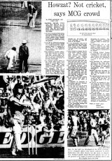 Front page of The Age, February 2, 1981. 'Howzat? Not cricket, says MCG crowd'.