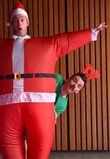 The Listies are Richard Higgins (reindeer) and Matt Kelly (Santa).