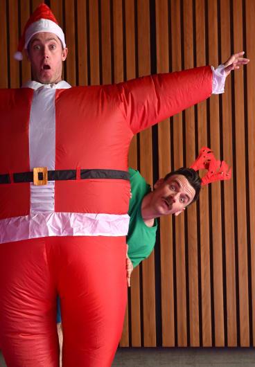 The Listies are Richard Higgins (reindeer) and Matt Kelly (Santa).