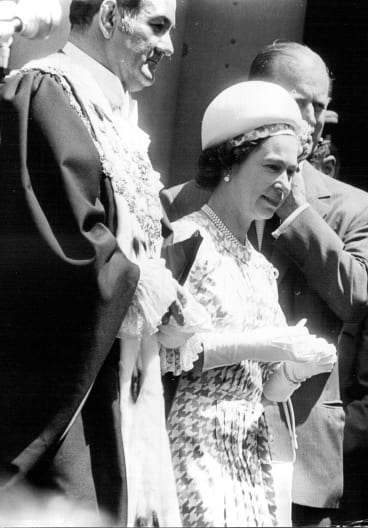 Nicholas Shehadie joins Queen Elizabeth at the opening of the Sydney Opera House on October 20, 1973