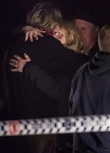 NSW Deputy State Coronor Elaine Truscott embraces Faye Leveson after the bones discovery.