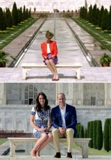 Complete contrast: The image of Diana, then 30, looking forlorn in front of the magnificent white marble tomb during her 1992 tour of the country with ex-husband, Prince Charles, became an iconic one.