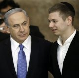 Israeli Prime Minister Benjamin Netanyahu with his son, Yair, in Jerusalem on Wednesday.
