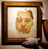 An oil portrait of Francis Bacon painted by Lucian Freud.
