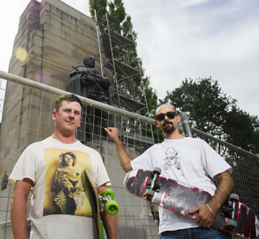 Christian Sheldrick and Tony Caruana from the Canberra Skateboarding Association, who are upset that the NCA is ''skateboard proofing'' the national monuments in the triangle.