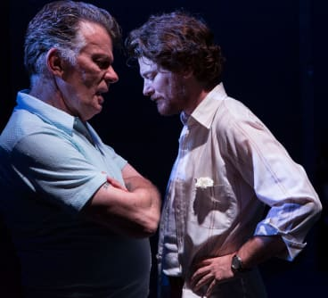 Russell Kiefel with actor Dan Spielman on stage at Belvoir in 2016 production of <i>The Blind Giant Is Dancing</I>.