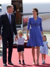 Prince William and Kate, the Duchess of Cambridge arrive in Berlin with their children Prince George and Princess Charlotte for a royal tour in July.
