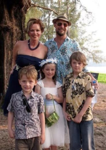 Mo, Evie and Otis Maslin (from left) with their parents Rin Norris and Anthony Maslin.