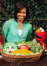 Former first lady Michelle Obama used her status to promote healthy eating habits with Elmo from <i>Sesame Street</i>.