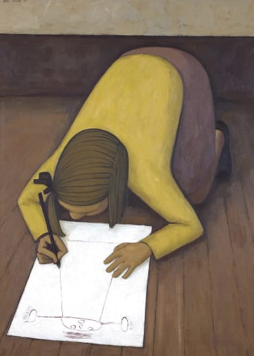 John Brack. First Daughter 1955. Up for auction this month. Estimate $550,000-$750,000.