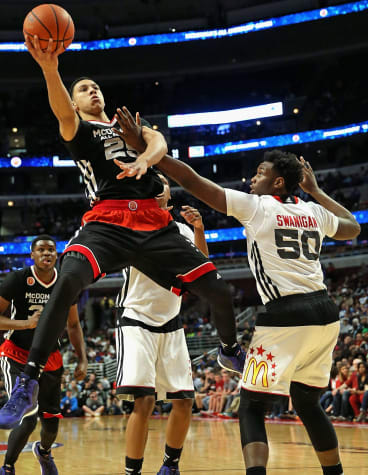 Flying high on court during the McDonald's All American Game in Chicago in April.