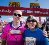 Officially last over the line in this year's City2Surf, Kerry McKee and her son John.