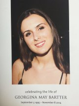 The cover of the order of service for the funeral of Georgina Bartter.