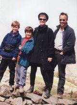Jack and Jesse Cox, with their parents Louise Cox and Mark Piddington, walking in Nepal in 1996.