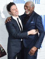 Director Zach Braff, left, greets actor Morgan Freeman attend the world premiere of <i>Going in Style</i> at the SVA Theatre in New York.
