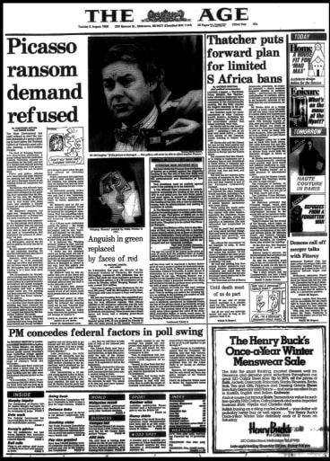 The Age front page on Tuesday, August 5, 1986, the day after the theft of Picasso's Weeping Woman was discovered.