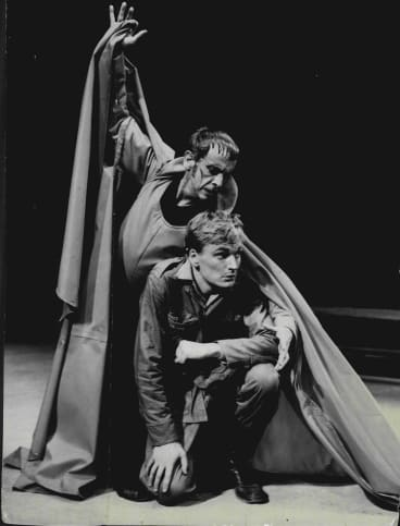 """Robert Helpmann, as the Devil, and John Bell as the Soldier, in a scene from the """"Soldier's Tale"""" at the Elizabethan Theatre, Newtown in 1964."""