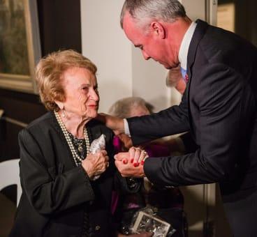 Holocaust survivor Cesia Goldberg, and Australian War Memorial director Dr Brendan Nelson.