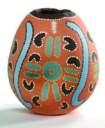 Jeannie Nungarrayi's 1989 earthenware creation, <i>Ngarlkirdi Jukurrpa</i> (<i>Witchetty Grub Dreaming</i>).