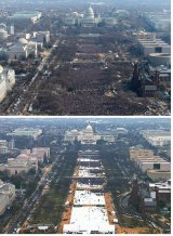 National Mall at the inaugurations of President Barack Obama, above, and President Donald Trump, below.