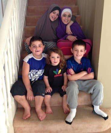 Sharrouf's children (clockwise from top left) Zaynab, Hoda, Abdullah, Humzeh, Zarqawi.